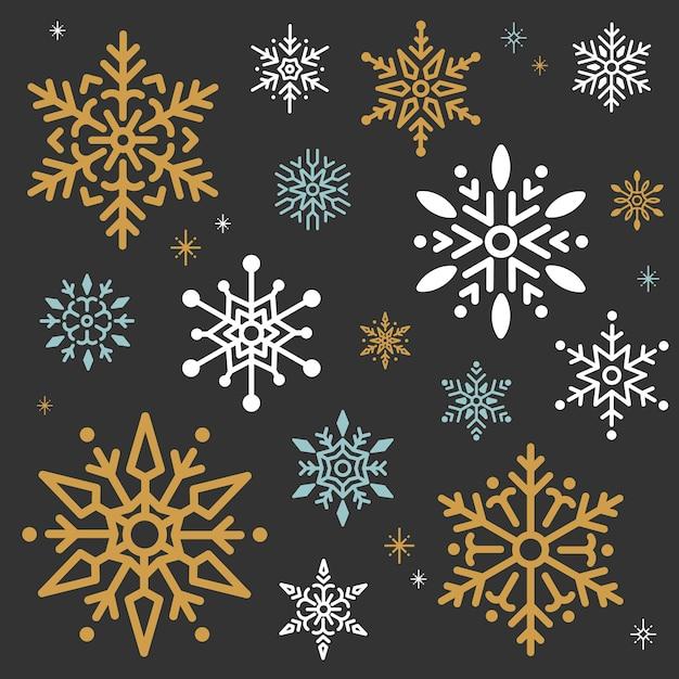 スノーフレーククリスマスデザインの背景ベクトル 無料ベクター