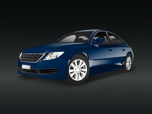 Синий автомобиль седан в черном фоне Бесплатные векторы