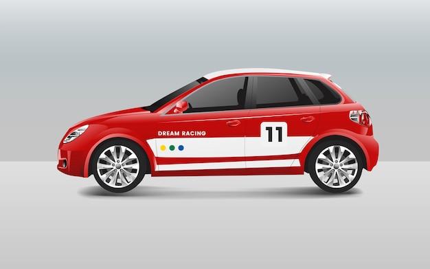 Хэтчбек гонки автомобиль дизайн вектор Бесплатные векторы