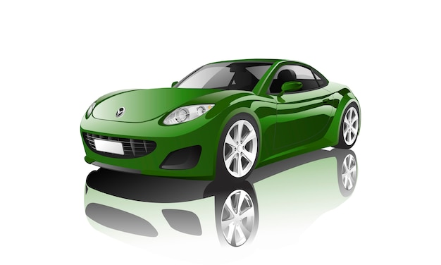 Зеленый спортивный автомобиль, изолированных на белом вектор Бесплатные векторы