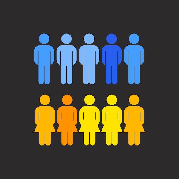 Корпоративный вектор распределения гендерных распределений Бесплатные векторы