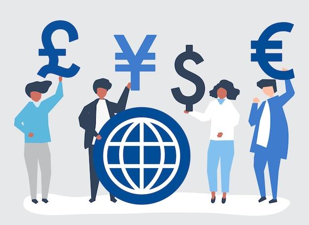 Люди, несущие разный знак валюты Бесплатные векторы