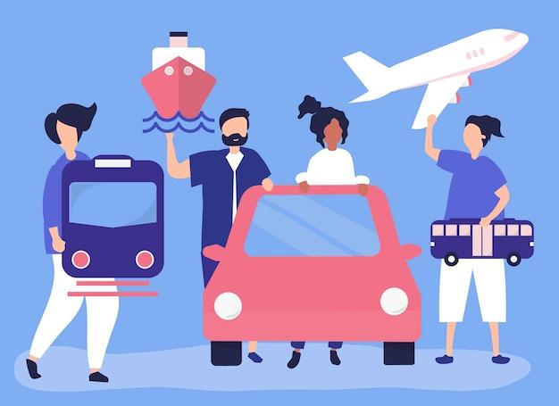 Люди, имеющие разные значки транспорта Бесплатные векторы