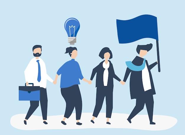 新しい市場を見つけるためにリーダーに従うビジネスマン 無料ベクター