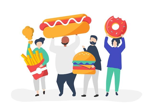Люди едят нездоровую пищу Бесплатные векторы