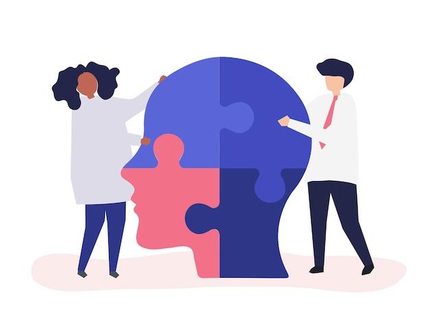 Люди, соединяющие кусочки головы вместе Бесплатные векторы