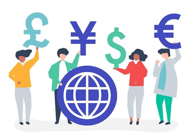 Люди, несущие разные валюты знак Бесплатные векторы