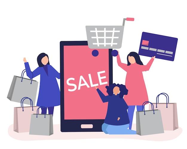 クレジットカードで買い物をする人々 無料ベクター