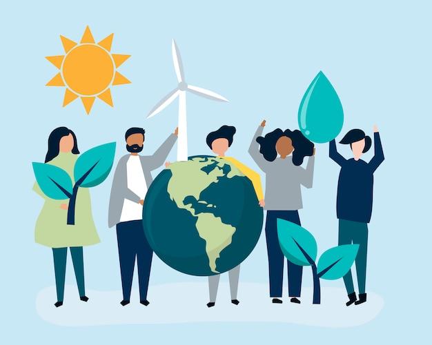 環境持続可能性の概念を持つ人々 無料ベクター