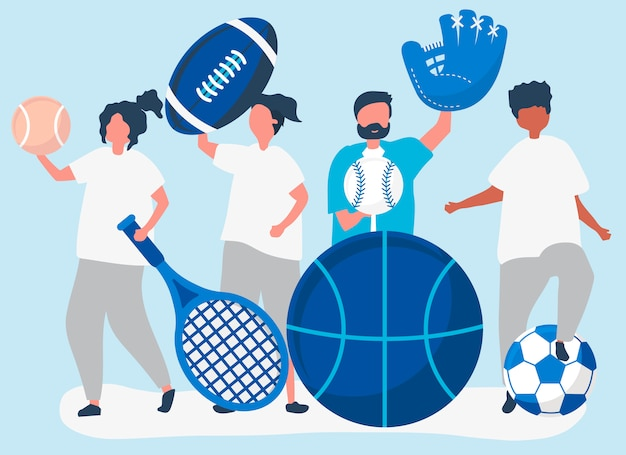 Спортсмены несут различные спортивные значки Бесплатные векторы