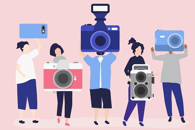 カメラ付きカメラマンのキャラクターイラスト 無料ベクター