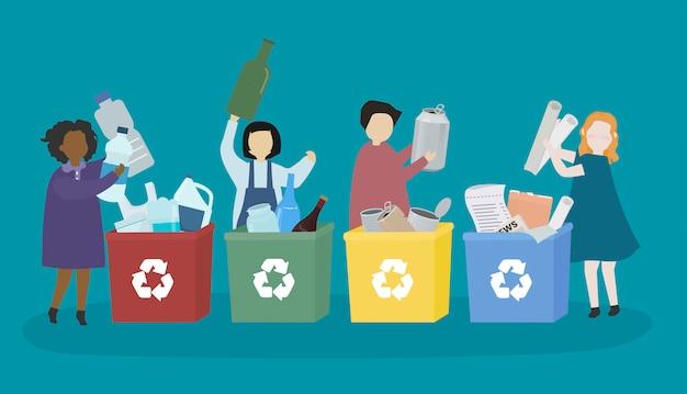 様々なリサイクル材料を学ぶ学生 無料ベクター
