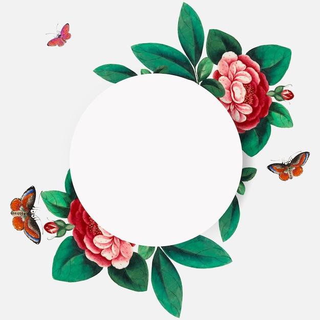 Китайская живопись с изображением цветов пустой круг кадр вектор Бесплатные векторы