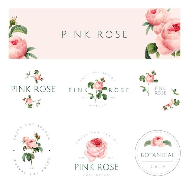 手描きのピンクのバラのエンブレムベクトルセット 無料ベクター