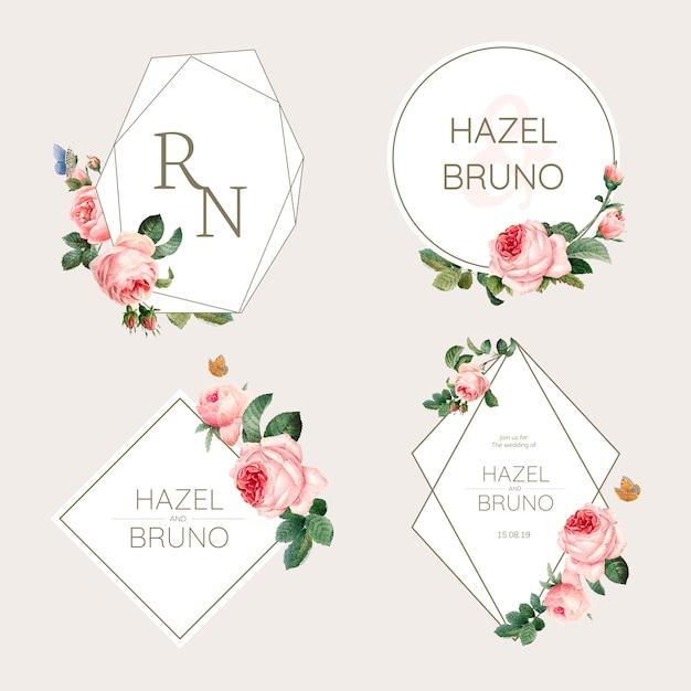Свадебный пригласительный билет украшен розами вектор Бесплатные векторы