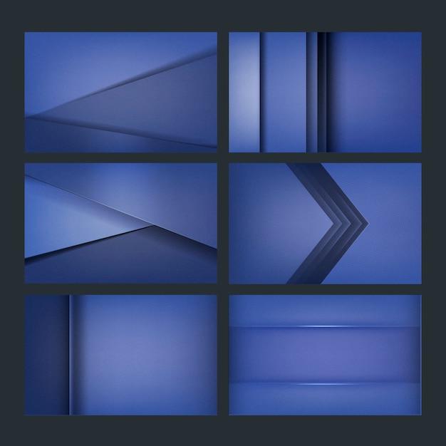 青色の背景デザインのセット 無料ベクター