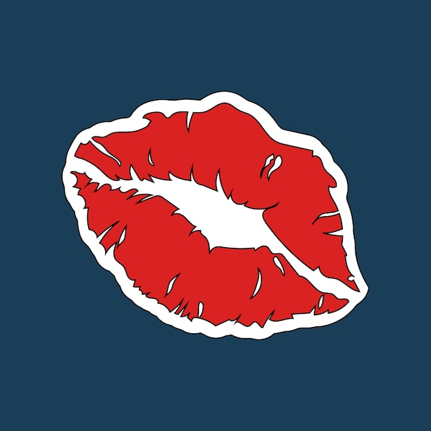 赤い口紅プリントステッカーベクトル 無料ベクター