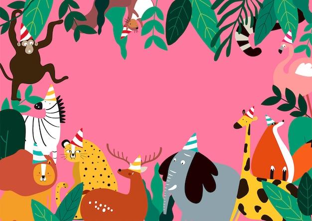 Животные праздник тема шаблон векторные иллюстрации Бесплатные векторы