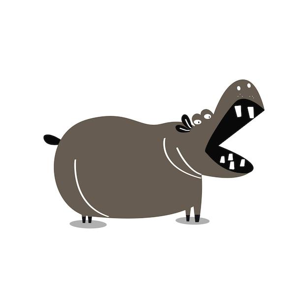 かわいい野生のカバの漫画のイラスト 無料ベクター