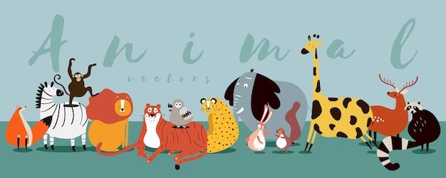Милая группа диких животных вектора Бесплатные векторы