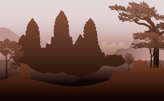 Храм ангкор-ват силуэт вектор дизайн Бесплатные векторы