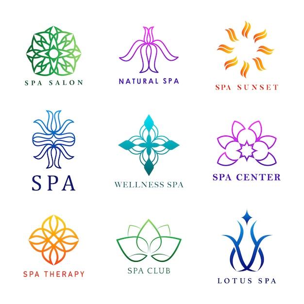 Набор красочных спа-логотипов векторов Бесплатные векторы