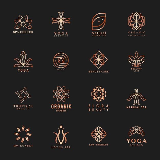 Набор йоги и спа-логотипа вектор Бесплатные векторы