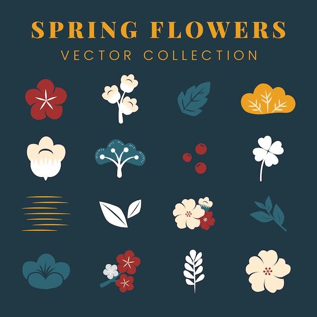 カラフルな花がセット 無料ベクター