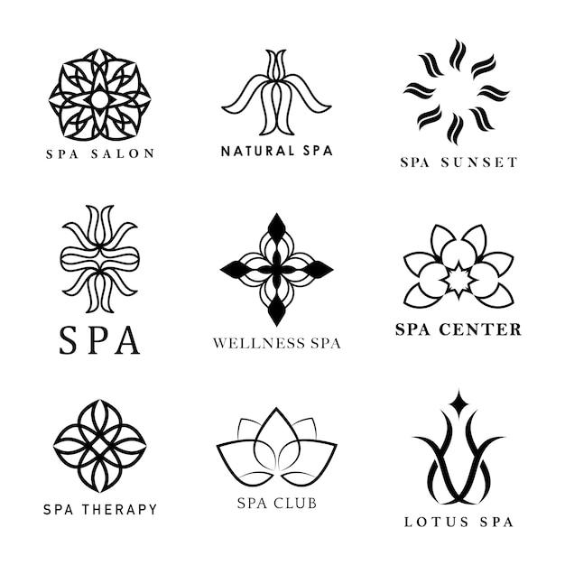 Набор спа-логотипов векторов Бесплатные векторы