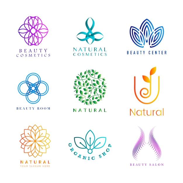 カラフルな天然化粧品のロゴベクトルのセット 無料ベクター