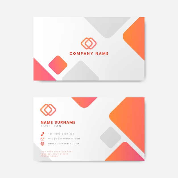 Современный геометрический дизайн визитной карточки Бесплатные векторы