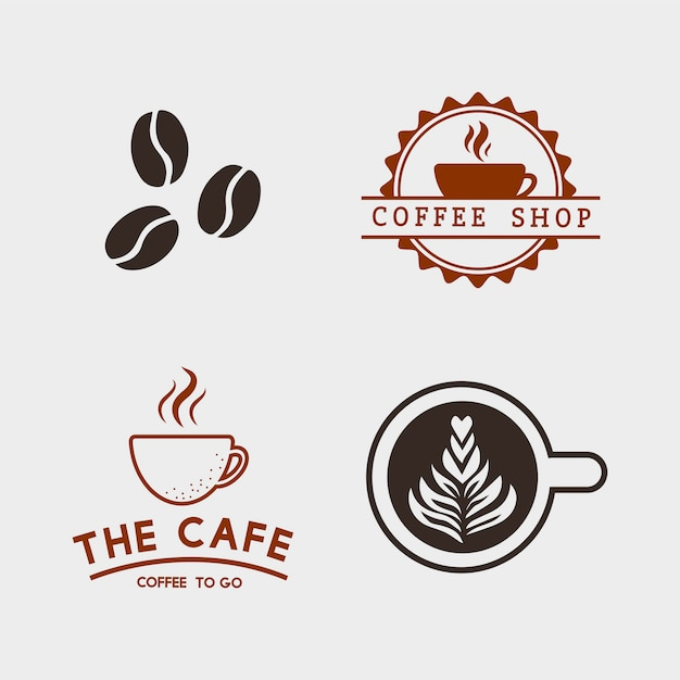 コーヒーの要素とコーヒーアクセサリーのベクトルのセット 無料ベクター