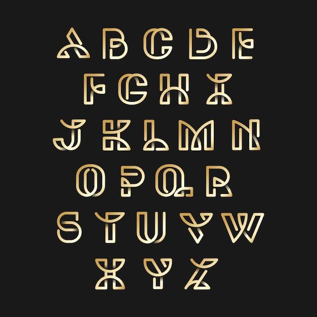 ゴールデンレトロアルファベットベクトルセット 無料ベクター