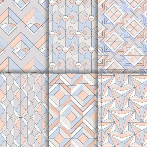 Набор красочных пастельных геометрических бесшовные шаблоны Бесплатные векторы