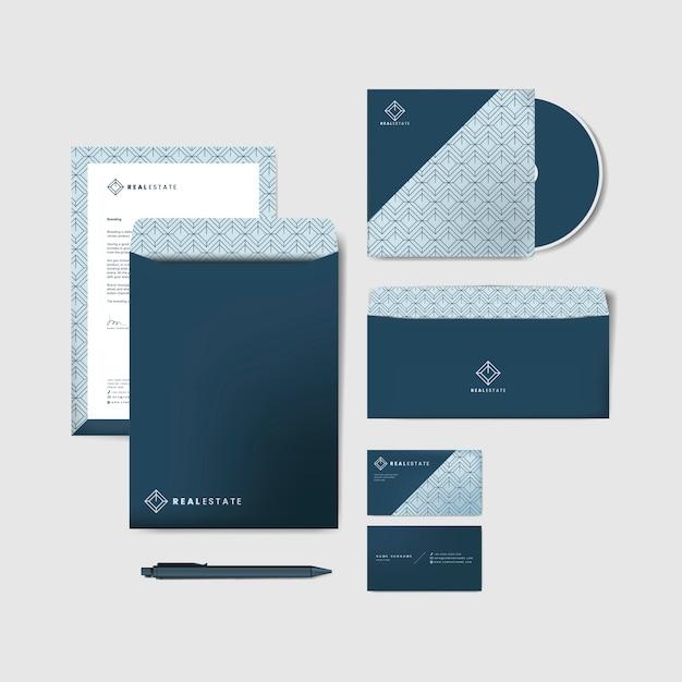青い企業の文房具のテンプレート 無料ベクター