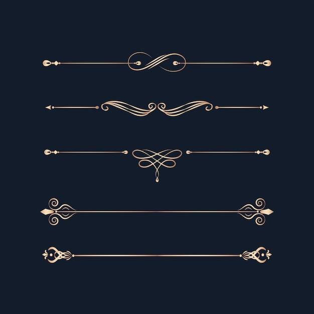 Винтажные вихревые элементы дизайна Бесплатные векторы