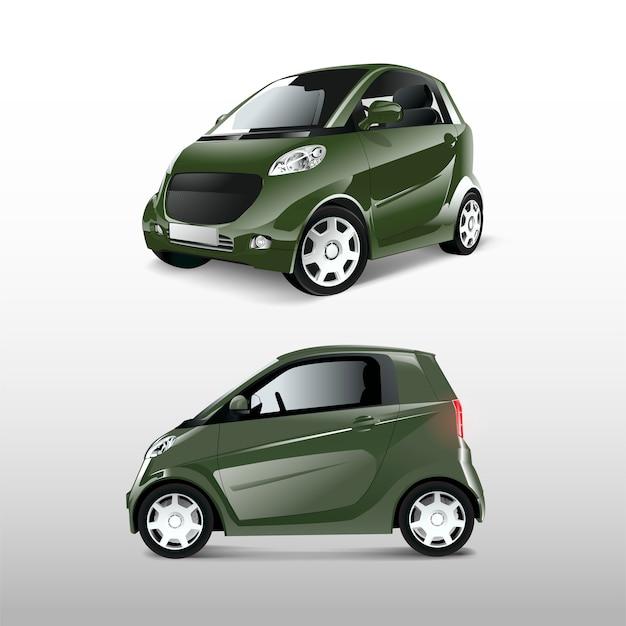 Зеленый компактный гибридный автомобиль вектор Бесплатные векторы