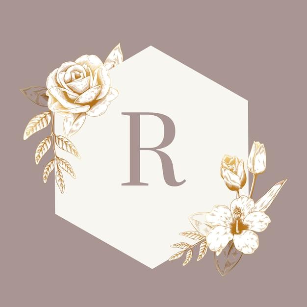 Винтажная цветочная эмблема Бесплатные векторы