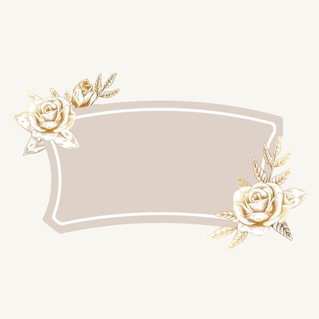 ロマンチックな花のバッジ 無料ベクター