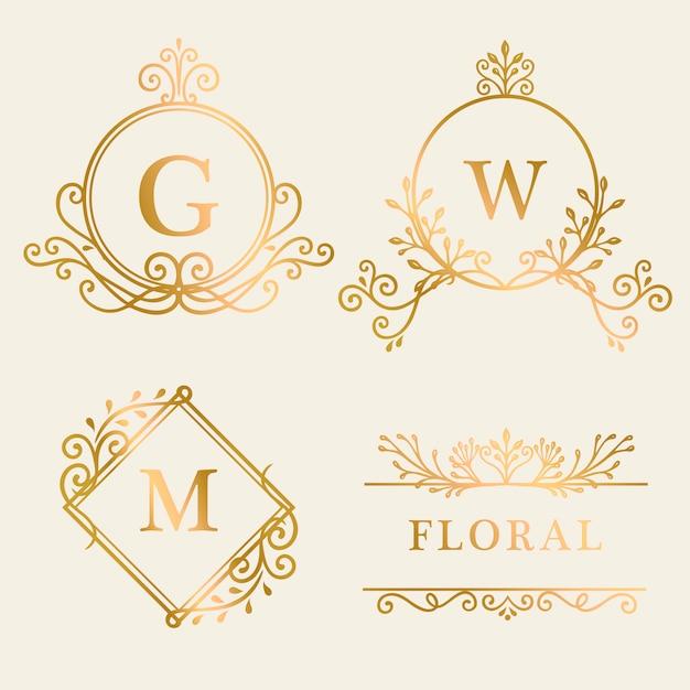 Коллекция логотипов в золотой оправе Бесплатные векторы