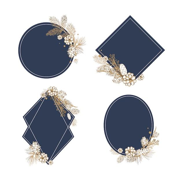 空白の花の招待コレクション 無料ベクター