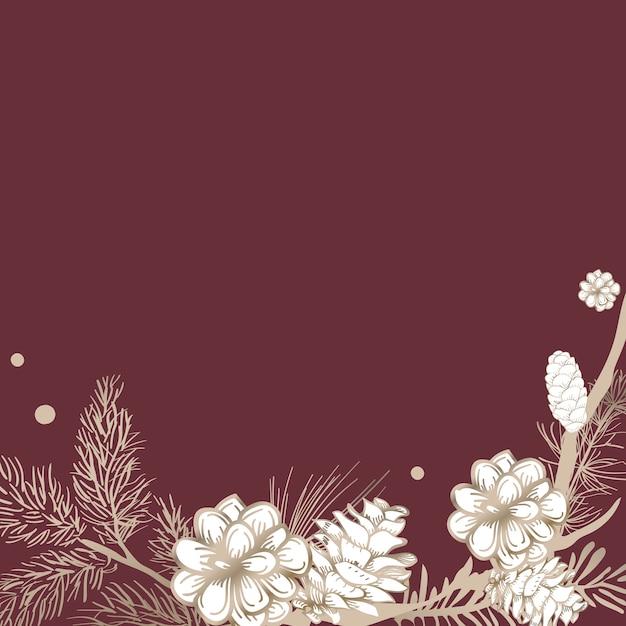 空白の花の招待状 無料ベクター