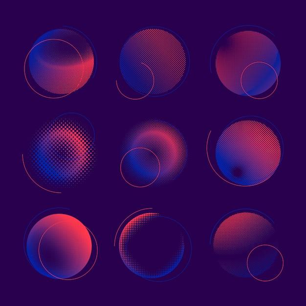 Набор векторных синий и розовый полутоновых значок Бесплатные векторы