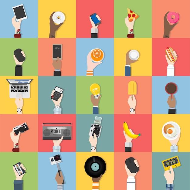 Коллекция технологий и пищевых векторов Бесплатные векторы