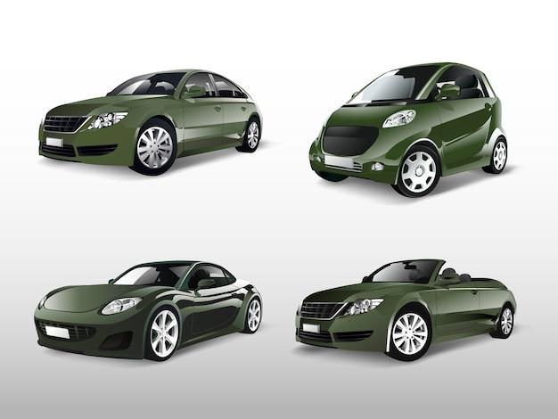 Набор различных векторов зеленых автомобилей Бесплатные векторы