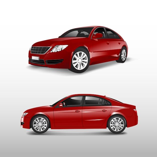 白いベクトルに隔離された赤いセダンの車 無料ベクター