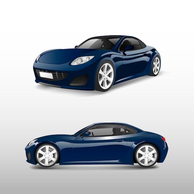 Синий спортивный автомобиль на белом векторе Бесплатные векторы