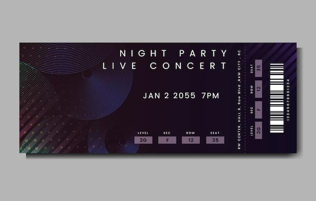 Живой концертный билет Бесплатные векторы