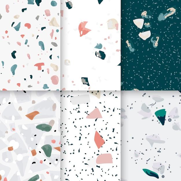 カラフルなテラッツォシームレスパターンのポスターのベクトルセット 無料ベクター