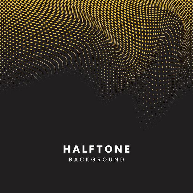 Желтый и черный волнистый полутоновый фон вектор Бесплатные векторы